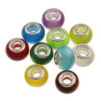 Lampwork Perlen European Stil, rund, handgemacht, Messing-Dual-Core ohne troll, gemischte Farben, 13.5x9mm, Bohrung:ca. 5mm, verkauft von PC