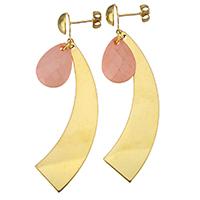 Porzellan-Ohrringe, Edelstahl, mit Porzellan, goldfarben plattiert, für Frau, 67mm, 12.5x18mm, verkauft von Paar
