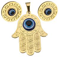 Evil Eye Schmuck-Set, Anhänger & Ohrring, Edelstahl, mit Harz, Hamsa, goldfarben plattiert, böser Blick- Muster & für Frau, 33.5x44mm, 17.5mm, Bohrung:ca. 5.5x8mm, verkauft von setzen