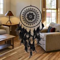 Fashion Dreamcatcher, Eisen, mit Feder & Polyester & Glas-Rocailles, schwarz, 50-55cm, verkauft von PC