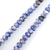 Blauer Tupfen Stein Perlen, blauer Punkt, Rondell, facettierte, 5x8mm, Bohrung:ca. 1mm, ca. 75PCs/Strang, verkauft per ca. 15 ZollInch Strang