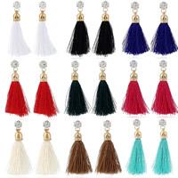 Mode-Fringe-Ohrringe, Zinklegierung, mit Nylonschnur, Eisen Haken, goldfarben plattiert, mit Strass, keine, frei von Blei & Kadmium, 55x25mm, verkauft von Paar