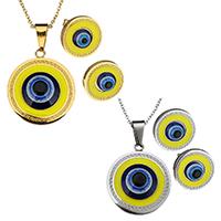 Evil Eye Schmuck-Set, Ohrring & Halskette, Edelstahl, mit Harz, flache Runde, plattiert, böser Blick- Muster & Oval-Kette & für Frau & Emaille, keine, 25x29mm, 1.5mm, 14mm, Länge:ca. 17 ZollInch, verkauft von setzen