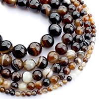 Natürliche Streifen Achat Perlen, rund, verschiedene Größen vorhanden, Kaffeefarbe, verkauft per ca. 15 ZollInch Strang