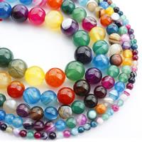 Natürliche Streifen Achat Perlen, rund, verschiedene Größen vorhanden, gemischte Farben, verkauft per ca. 15 ZollInch Strang