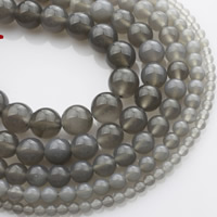 Natürliche graue Achat Perlen, Grauer Achat, rund, verschiedene Größen vorhanden, verkauft per ca. 15 ZollInch Strang