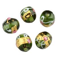 Goldfolie Lampwork Perlen, rund, handgemacht, 14x13mm, Bohrung:ca. 1.5mm, verkauft von PC
