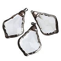 KRISTALLanhänger, Kristall, mit Messing, metallschwarz plattiert, gemischt, 38-40x48-50x9-10mm, Bohrung:ca. 5x7mm, verkauft von PC
