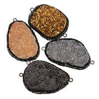 Eisquarz-Achat-Connetor, Eisquarz Achat, mit Ton & Messing, silberfarben plattiert, natürliche & druzy Stil & gemischt & 1/1-Schleife, 27-31x41-48x9-14mm, Bohrung:ca. 1.5mm, verkauft von PC