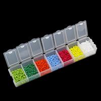Gemischte Glas Rocailles, Glas-Rocailles, mit Kunststoff Kasten, rund, 2.5x1.5mm, 156x34x18mm, Innendurchmesser:ca. 0.8mm, verkauft von Box