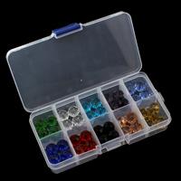 Kristall-Perlen, Kristall, mit Kunststoff Kasten, 12x9mm, 130x69x22mm, Innendurchmesser:ca. 1.5mm, verkauft von Box