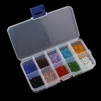 Kristall-Perlen, Kristall, mit Kunststoff Kasten, 4x3.5mm, 130x69x22mm, Innendurchmesser:ca. 0.8mm, verkauft von Box