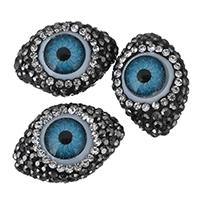 Harz Evil Eye Perlen, mit Ton, böser Blick- Muster & mit Strass & gemischt, 15x20.50x12mm, Bohrung:ca. 0.5mm, 10PCs/Menge, verkauft von Menge