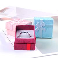 Karton Ringkasten, Papier, mit Satinband, mit Dekoration von Bandschleife, keine, 40x40x37mm, 48PCs/Tasche, verkauft von Tasche