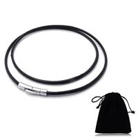 PU-Schnur-Halskette, Kuhhaut, mit Baumwollsamt, Edelstahl Bajonettverschluss, unterschiedliche Länge der Wahl, schwarz, 3mm, verkauft von Strang