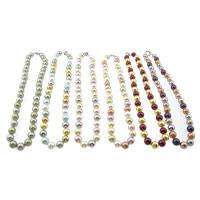Südsee Muschel Halskette, Messing Federring Verschluss, rund, gemischte Farben, 10mm, Länge:ca. 18 ZollInch, 5SträngeStrang/Tasche, 45PCs/Strang, verkauft von Tasche