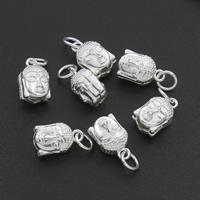 Buddhistische Perlen, Messing, mit Dreißig Prozent Splitter, Buddha, silberfarben plattiert, frei von Nickel, Blei & Kadmium, 9x14x7mm, Bohrung:ca. 3mm, verkauft von PC