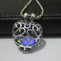 Unisex Halskette, Messing, mit Fluoreszierende Pulver Stein, Herz, plattiert, Kugelkette & glänzend & hohl, keine, frei von Nickel, Blei & Kadmium, 19mm, verkauft per ca. 19.6 ZollInch Strang