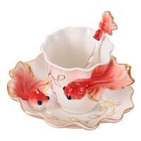 Porzellan Teeset, Löffel & Teetasse, Goldfisch, keine, 110x80mm, 150x30mm, 125mm, verkauft von setzen