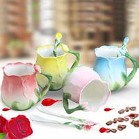 Porzellan, Löffel & Teetasse, Rose, keine, 80x95mm, 140mm, verkauft von setzen