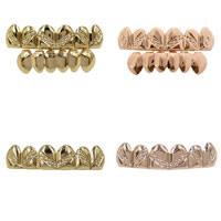 Zähne Hip Hop Schmuck, Messing, Zahn, plattiert, verschiedene Stile für Wahl, 50x10mm,40x10mm, verkauft von setzen