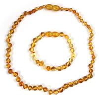 Bernstein Mode Schmuckset, Armband & Halskette, für Kinder, keine, 32cm, verkauft per ca. 6 ZollInch, ca. 12.5 ZollInch Strang