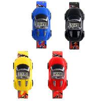 Silikon Armbanduhr, mit Zettelkasten & Kunststoff Zifferblatt & Zinklegierung, Auto, Platinfarbe platiniert, für Kinder & einstellbar, keine, 28x49x16mm,, Länge:ca. 8.2 ZollInch, verkauft von PC