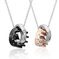 Ehepaar Halskette, Edelstahl, plattiert, verschiedene Verpackungs Art für Wahl & Oval-Kette & Micro pave Zirkonia & für paar, 17.3mm, 15mm, Länge:ca. 20 ZollInch, verkauft von setzen