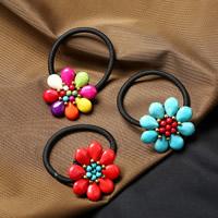 Elastisches Haarband, elastische Nylonschnur, mit Synthetische Türkis & Messing, Blume, goldfarben plattiert, für Frau, keine, 35mm, verkauft von PC