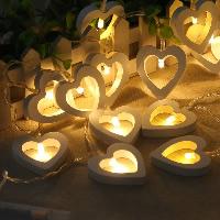 Holz LED-Streifen, mit Kunststoff, Herz, 55x50mm, verkauft per ca. 1.2 m Strang