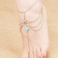 Mode Toe Fußkette, Zinklegierung, mit Synthetische Türkis, Platinfarbe platiniert, für Frau, frei von Blei & Kadmium, 240x150mm, verkauft per ca. 9 ZollInch Strang