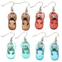 Edelstein Ohrringe, mit Messing, Schuhe, silberfarben plattiert, verschiedenen Materialien für die Wahl & für Frau, 42mm, 10x23x8mm, verkauft von Paar