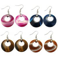 Edelstein Ohrringe, mit Messing, silberfarben plattiert, verschiedenen Materialien für die Wahl & für Frau, 51mm, 28x28x5mm, verkauft von Paar