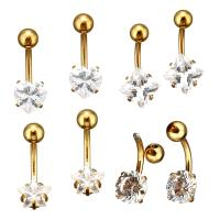 Edelstahl -Bauch-Ring, goldfarben plattiert, verschiedene Stile für Wahl & für Frau & mit Strass, 2PCs/Menge, verkauft von Menge