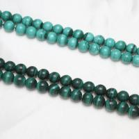 Malachit Perlen, rund, natürlich, keine, 6mm, Bohrung:ca. 1mm, ca. 65PCs/Strang, verkauft per ca. 15 ZollInch Strang