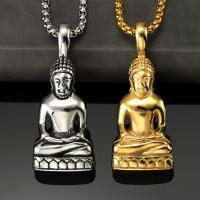 Edelstahl Pullover Halskette, Buddha, plattiert, buddhistischer Schmuck & unisex & Kastenkette, keine, 22x51mm, verkauft per ca. 27.5 ZollInch Strang