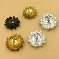 Messing Perlenkappe, Blume, plattiert, keine, frei von Nickel, Blei & Kadmium, 30mm, Bohrung:ca. 1.5mm, 10PCs/Tasche, verkauft von Tasche