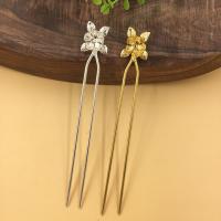 Haarstock-Befunde, Messing, mit Eisen, Blume, plattiert, keine, frei von Nickel, Blei & Kadmium, 18x21mm, 10PCs/Tasche, verkauft von Tasche