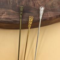 Haarstock-Befunde, Messing, mit Eisen, Blume, plattiert, keine, frei von Nickel, Blei & Kadmium, 120x2.5mm, 100PCs/Tasche, verkauft von Tasche