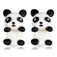 Polymer Ton Cartoon-Split-Ohrring, Edelstahl Stecker, Panda, für Frau, 15x25mm, verkauft von Paar