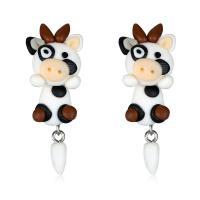 Polymer Ton Cartoon-Split-Ohrring, Edelstahl Stecker, Kuh, für Frau, 15x45mm, verkauft von Paar
