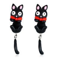 Polymer Ton Cartoon-Split-Ohrring, Edelstahl Stecker, Katze, für Frau, 12x50mm, verkauft von Paar