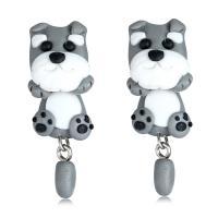 Polymer Ton Cartoon-Split-Ohrring, Edelstahl Stecker, Hund, für Frau, 15x40mm, verkauft von Paar