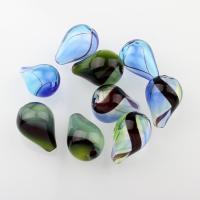 Handgewickelte Perlen, Lampwork, Tropfen, verschiedene Muster für Wahl & hohl, 14x20mm, Bohrung:ca. 2-2.5mm, 100PCs/Tasche, verkauft von Tasche