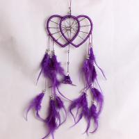 Fashion Dreamcatcher, Feder, mit ABS-Kunststoff-Perlen & Nylonband & Glas-Rocailles & Eisen, Herz, mit Glocke, violett, 500mm, verkauft von PC
