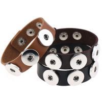 Snap-Knopf-Armband, PU Leder, mit Zinklegierung, Platinfarbe platiniert, unisex, keine, frei von Nickel, Blei & Kadmium, verkauft per ca. 8.2 ZollInch Strang