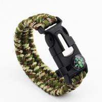 Überleben Armbänder, Nylonschnur, Kunststoff Folie Release Schnalle, mit Feuer-starter & mit Kompass & unisex, keine, 25mm, verkauft per ca. 8.5 ZollInch Strang