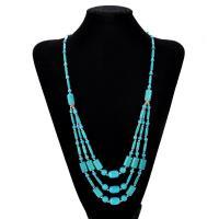 Mode Türkis Halskette, Synthetische Türkis, mit Verkupferter Kunststoff, mit Verlängerungskettchen von 5cm, für Frau, 15mm, verkauft per ca. 18 ZollInch Strang