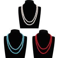 Mode Türkis Halskette, Synthetische Türkis, rund, für Frau & Multi-Strang, keine, 20mm, verkauft per ca. 22.5 ZollInch Strang
