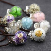 Glassturz Halskette, Glas, mit Gewachste Nylonschnur & Getrocknete Blumen & Glas, Platinfarbe platiniert, für Frau, keine, 25mm, verkauft per ca. 27.5 ZollInch Strang